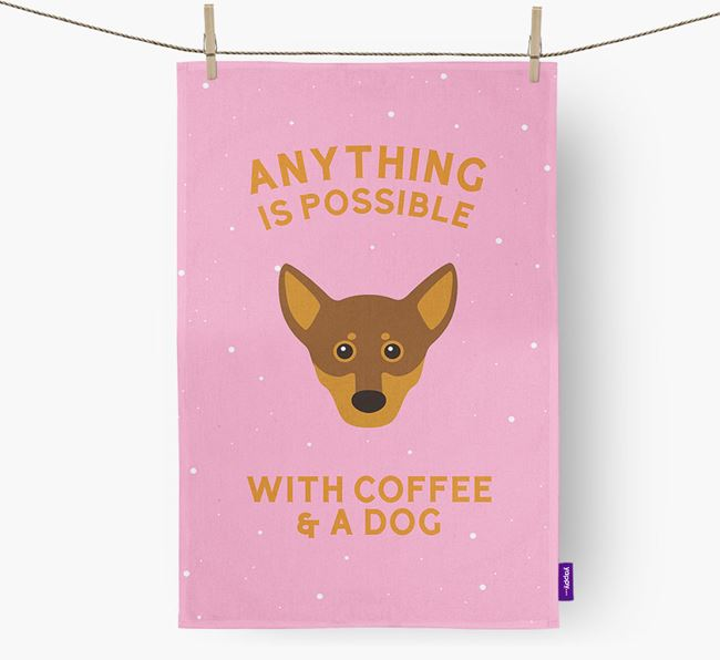 'Anything Is Possible With Coffee/Tea...' - Personalized Chiweenie Dish Towel