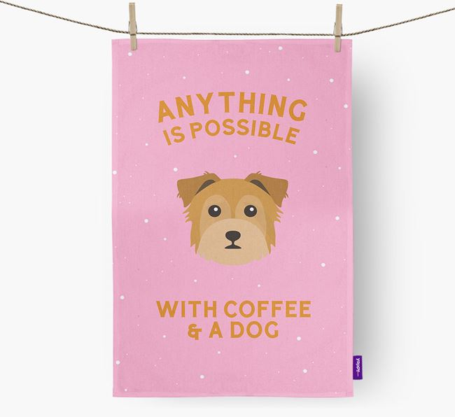 'Anything Is Possible With Coffee/Tea...' - Personalised Chorkie Tea Towel
