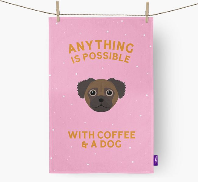 'Anything Is Possible With Coffee/Tea...' - Personalized Chug Dish Towel