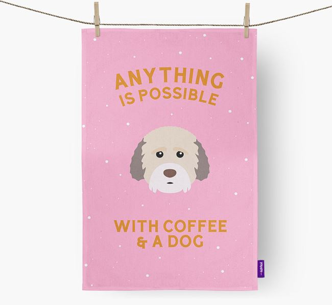 'Anything Is Possible With Coffee/Tea...' - Personalized Cockachon Dish Towel