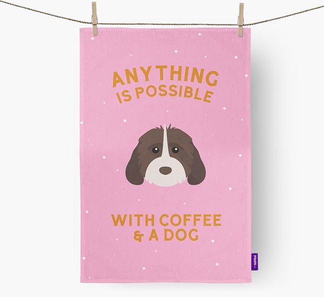 'Anything Is Possible With Coffee/Tea...' - Personalized Cockapoo Dish Towel