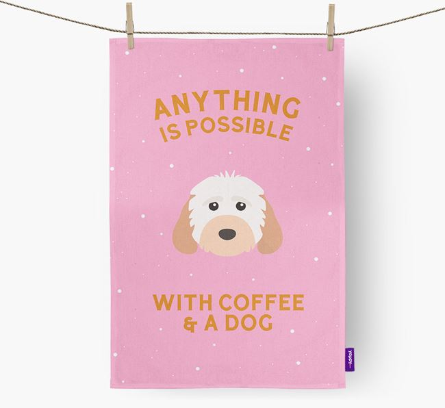 'Anything Is Possible With Coffee/Tea...' - Personalised Cockapoo Tea Towel