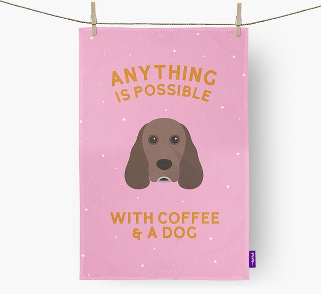 'Anything Is Possible With Coffee/Tea...' - Personalized Cocker Spaniel Dish Towel