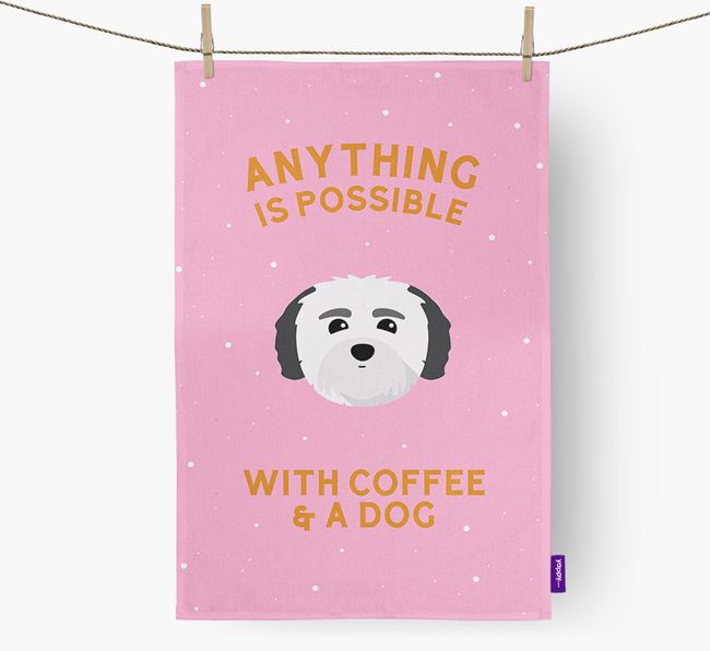 'Anything Is Possible With Coffee/Tea...' - Personalized Coton De Tulear Dish Towel