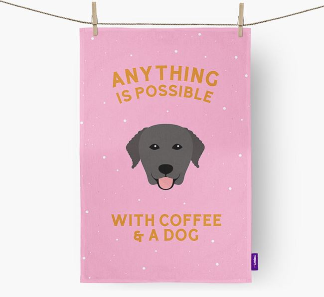 'Anything Is Possible With Coffee/Tea...' - Personalized Curly Coated Retriever Dish Towel
