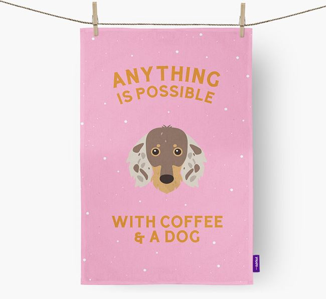 'Anything Is Possible With Coffee/Tea...' - Personalized Dachshund Dish Towel