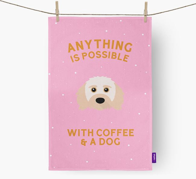 'Anything Is Possible With Coffee/Tea...' - Personalized Doxiepoo Dish Towel