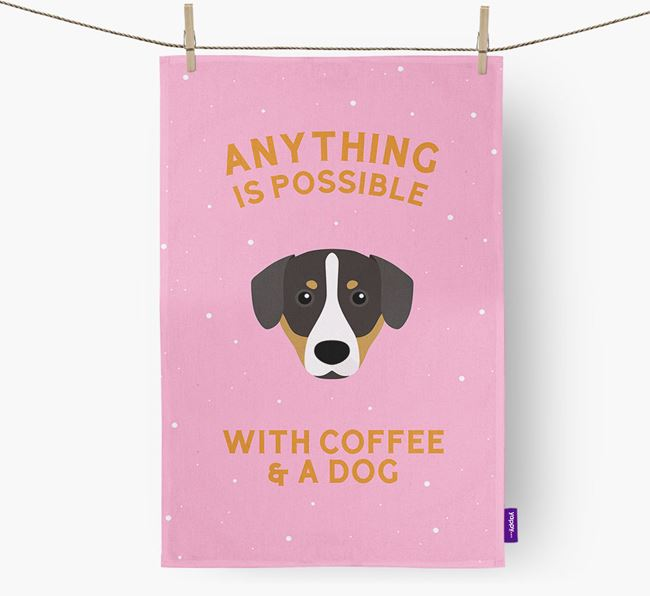 'Anything Is Possible With Coffee/Tea...' - Personalized Entlebucher Mountain Dog Dish Towel