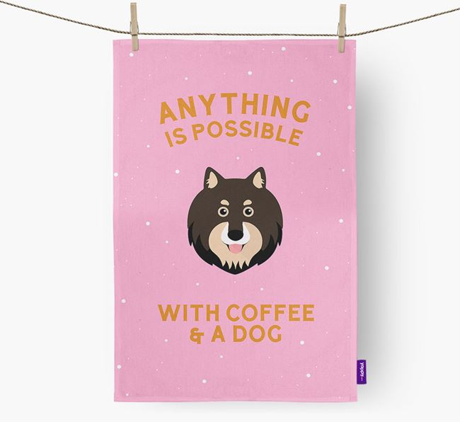 'Anything Is Possible With Coffee/Tea...' - Personalized Finnish Lapphund Dish Towel