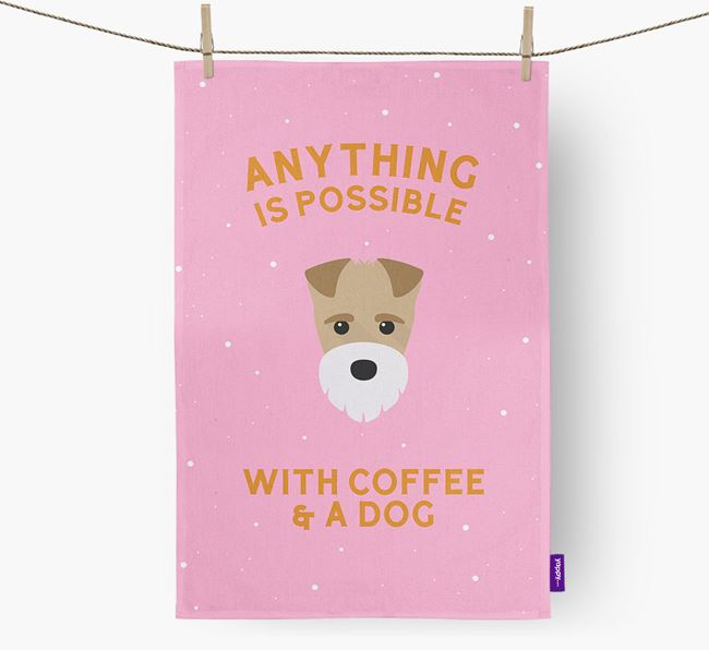 'Anything Is Possible With Coffee/Tea...' - Personalized Fox Terrier Dish Towel