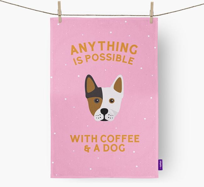 'Anything Is Possible With Coffee/Tea...' - Personalized Frenchie Staff Dish Towel