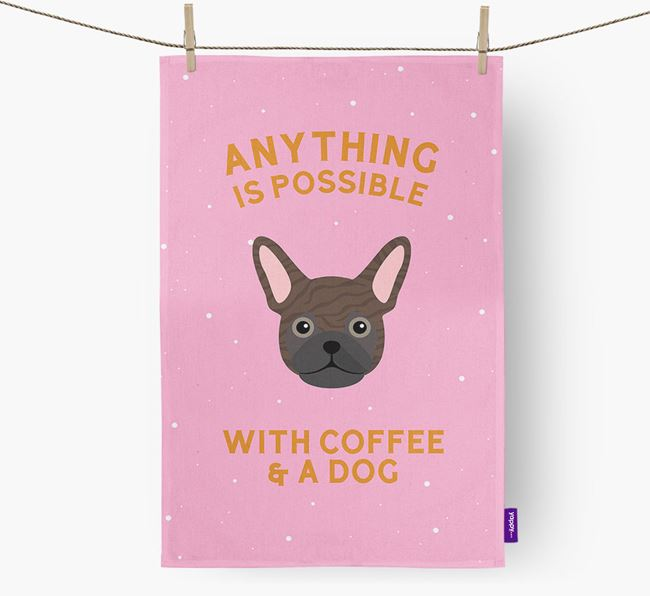 'Anything Is Possible With Coffee/Tea...' - Personalized Frug Dish Towel