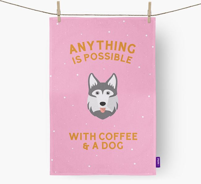 'Anything Is Possible With Coffee/Tea...' - Personalized Gerberian Shepsky Dish Towel