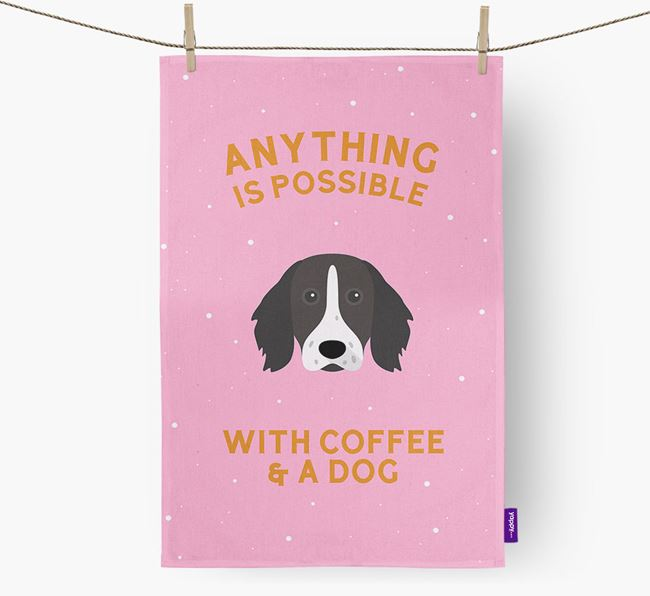 'Anything Is Possible With Coffee/Tea...' - Personalized German Longhaired Pointer Dish Towel