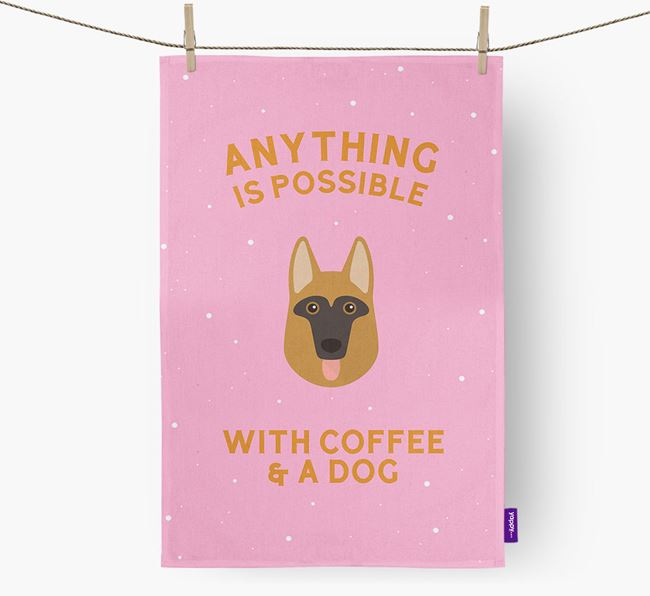 'Anything Is Possible With Coffee/Tea...' - Personalised Dog Tea Towel