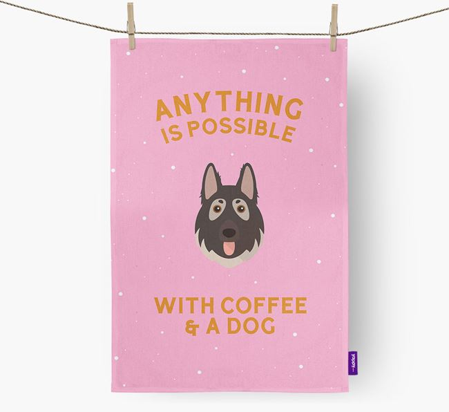 'Anything Is Possible With Coffee/Tea...' - Personalized German Shepherd Dish Towel