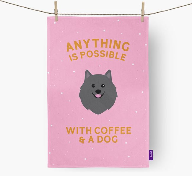 'Anything Is Possible With Coffee/Tea...' - Personalized German Spitz Dish Towel