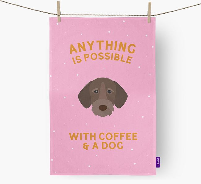 'Anything Is Possible With Coffee/Tea...' - Personalized German Wirehaired Pointer Dish Towel