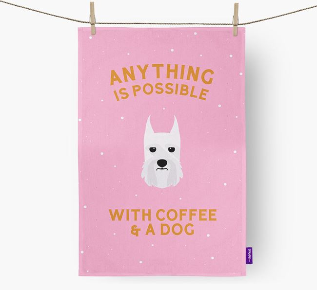 'Anything Is Possible With Coffee/Tea...' - Personalized Giant Schnauzer Dish Towel