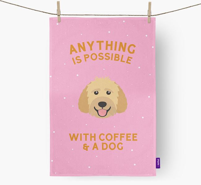 'Anything Is Possible With Coffee/Tea...' - Personalized Goldendoodle Dish Towel