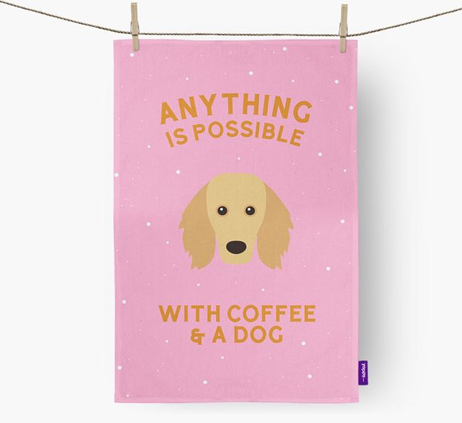 'Anything Is Possible With Coffee/Tea...' - Personalized Golden Dox Dish Towel