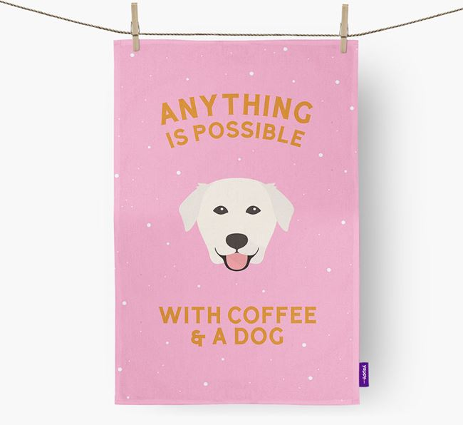 'Anything Is Possible With Coffee/Tea...' - Personalized Golden Labrador Dish Towel