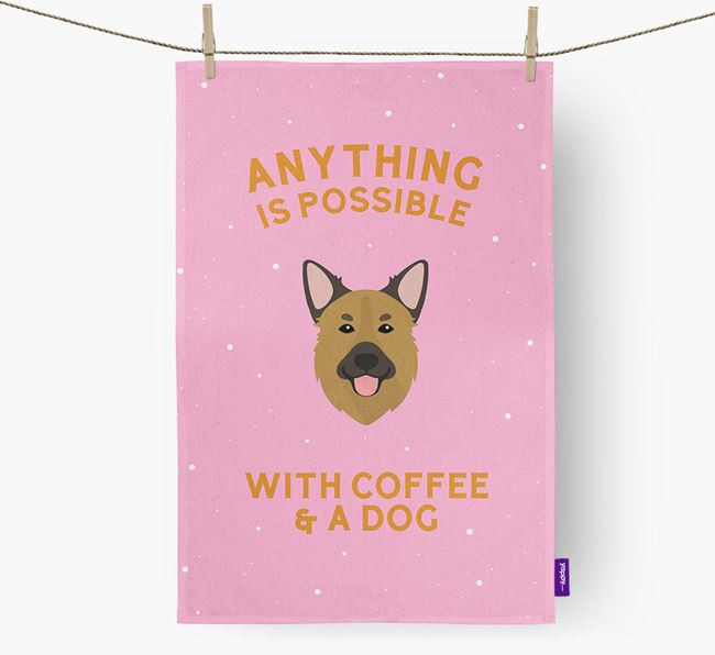 'Anything Is Possible With Coffee/Tea...' - Personalized Golden Shepherd Dish Towel