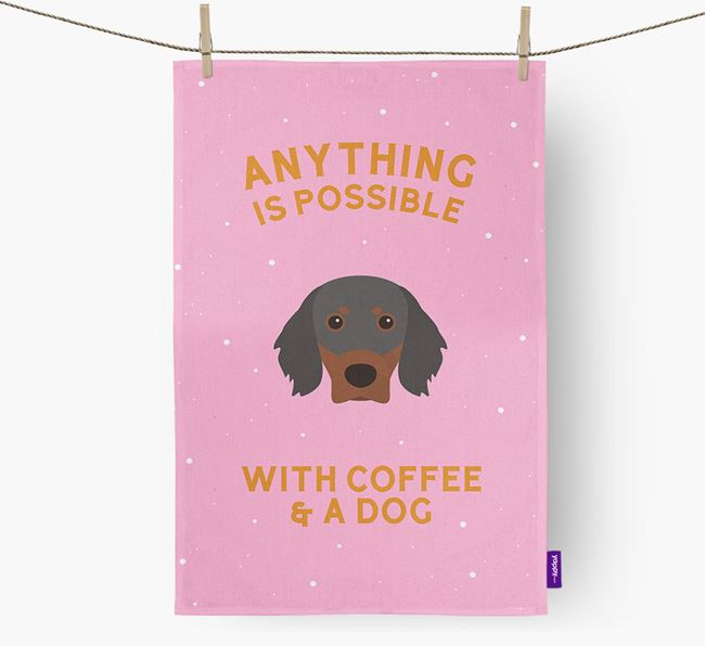 'Anything Is Possible With Coffee/Tea...' - Personalized Gordon Setter Dish Towel