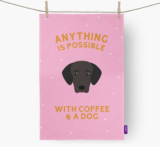 'Anything Is Possible With Coffee/Tea...' - Personalized Greek Harehound Dish Towel