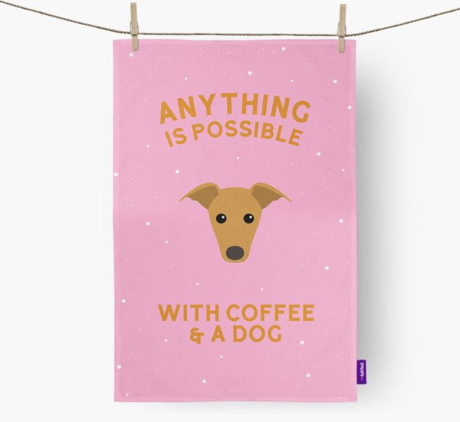 'Anything Is Possible With Coffee/Tea...' - Personalized Greyhound Dish Towel