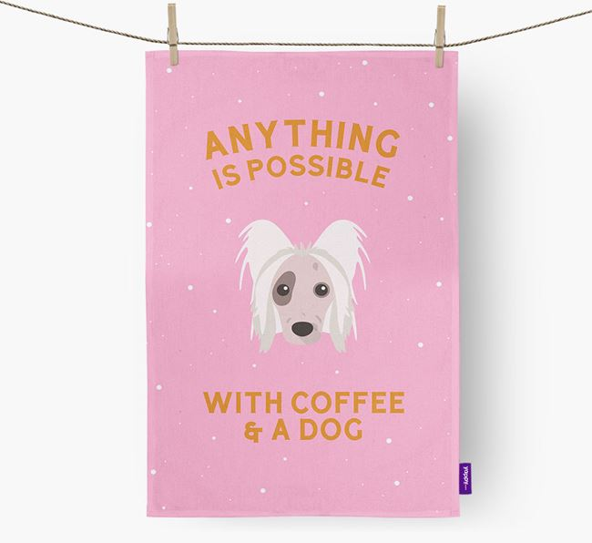 'Anything Is Possible With Coffee/Tea...' - Personalized Hairless Chinese Crested Dish Towel