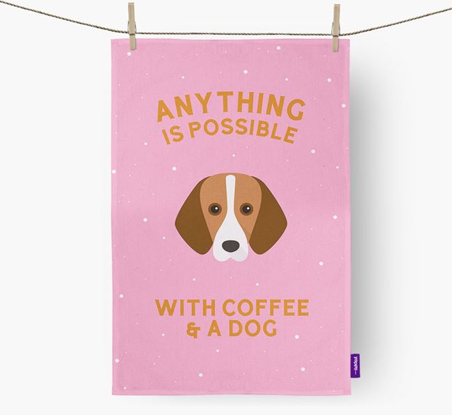 'Anything Is Possible With Coffee/Tea...' - Personalized Harrier Dish Towel