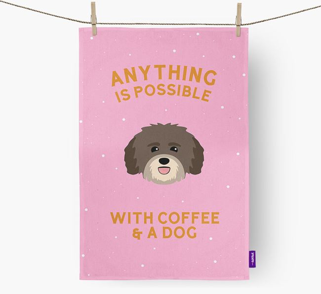 'Anything Is Possible With Coffee/Tea...' - Personalized Havanese Dish Towel