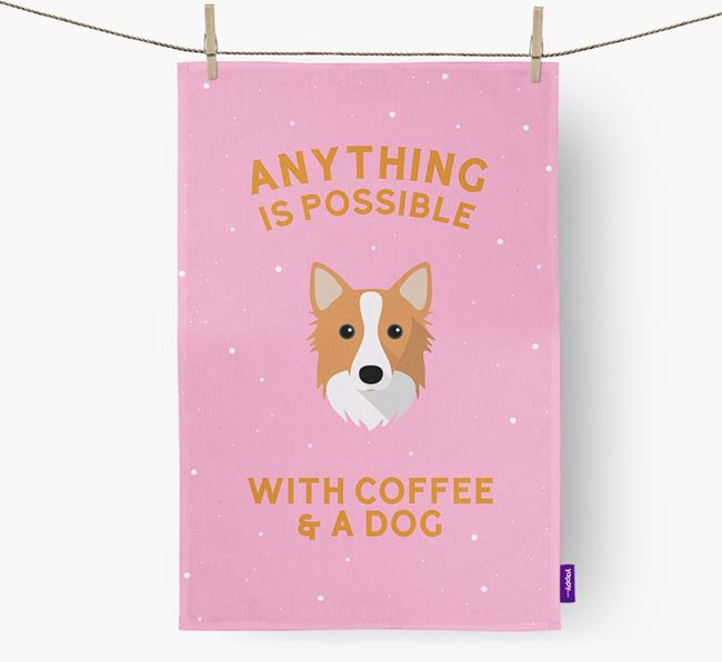 'Anything Is Possible With Coffee/Tea...' - Personalized Icelandic Sheepdog Dish Towel