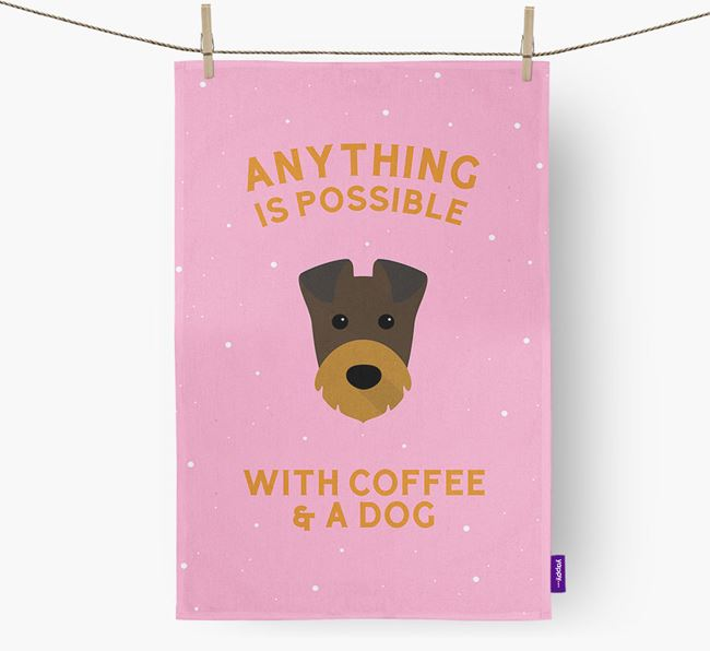'Anything Is Possible With Coffee/Tea...' - Personalized Irish Terrier Dish Towel