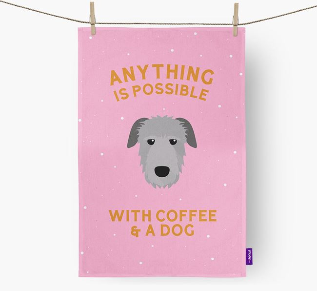 'Anything Is Possible With Coffee/Tea...' - Personalized Irish Wolfhound Dish Towel