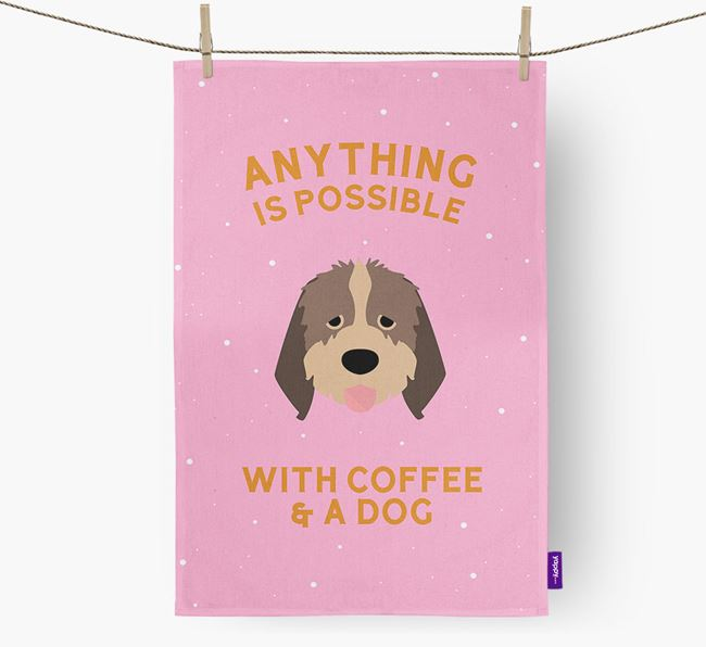 'Anything Is Possible With Coffee/Tea...' - Personalized Italian Spinone Dish Towel