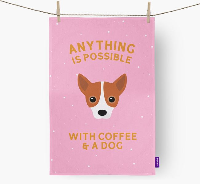 'Anything Is Possible With Coffee/Tea...' - Personalized Jackahuahua Dish Towel