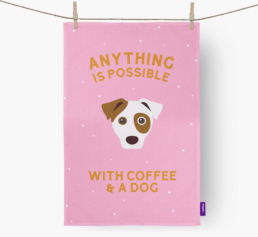 'Anything Is Possible With Coffee/Tea...' - Personalized Dog Dish Towel