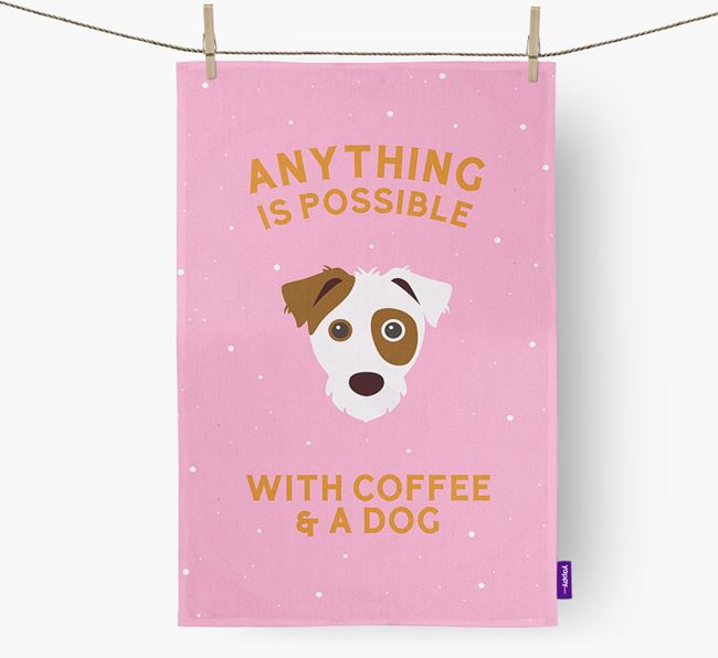 'Anything Is Possible With Coffee/Tea...' - Personalized Jack Russell Terrier Dish Towel
