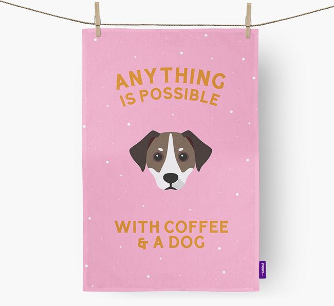 'Anything Is Possible With Coffee/Tea...' - Personalized Jackshund Dish Towel