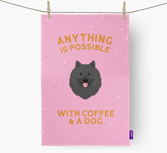 'Anything Is Possible With Coffee/Tea...' - Personalized Keeshond Dish Towel