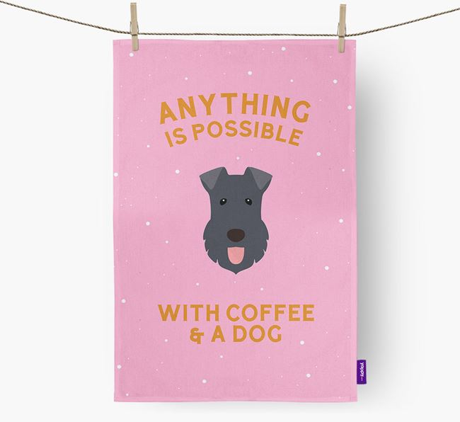 'Anything Is Possible With Coffee/Tea...' - Personalized Kerry Blue Terrier Dish Towel