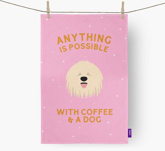 'Anything Is Possible With Coffee/Tea...' - Personalized Komondor Dish Towel