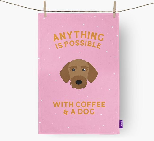 'Anything Is Possible With Coffee/Tea...' - Personalized Korthals Griffon Dish Towel
