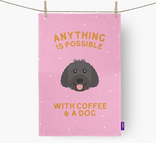'Anything Is Possible With Coffee/Tea...' - Personalized Labradoodle Dish Towel