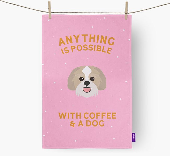 'Anything Is Possible With Coffee/Tea...' - Personalized Lachon Dish Towel