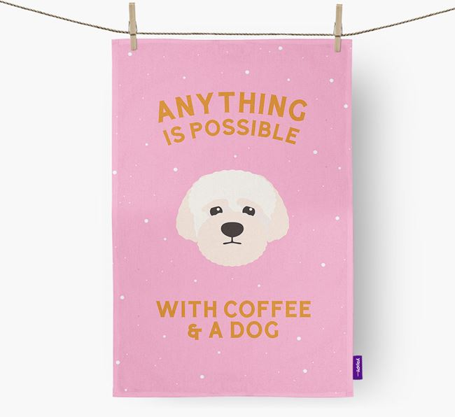 'Anything Is Possible With Coffee/Tea...' - Personalized Lagotto Romagnolo Dish Towel