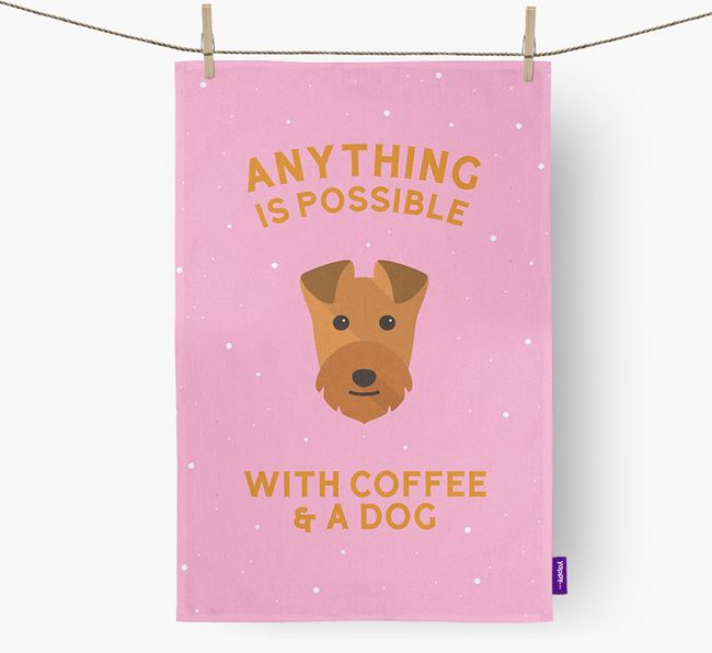 'Anything Is Possible With Coffee/Tea...' - Personalized Lakeland Terrier Dish Towel