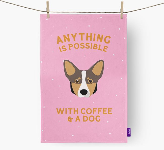 'Anything Is Possible With Coffee/Tea...' - Personalized Lancashire Heeler Dish Towel